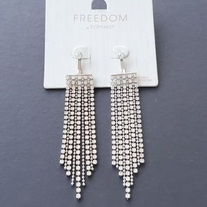 TOPSHOP DANGLE DROP DIAMOND STYLE EARRINGS